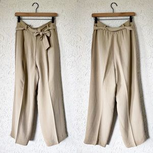 Tan High Waisted Belted Trouser Pants | Vintage